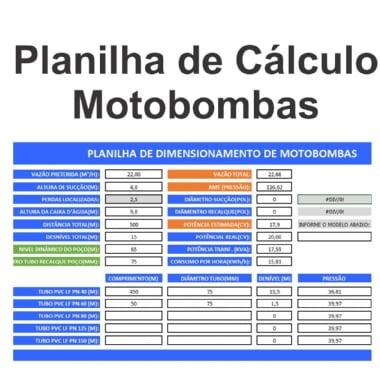 Planilha de Calculo de Motobombas de Irrigacao e Elevacao de Agua Versão 1.5